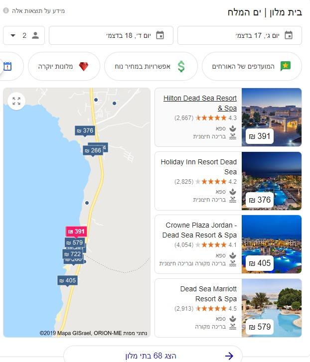 עדכון גוגל בתחום המלונואות