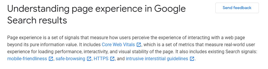 page experience in Google